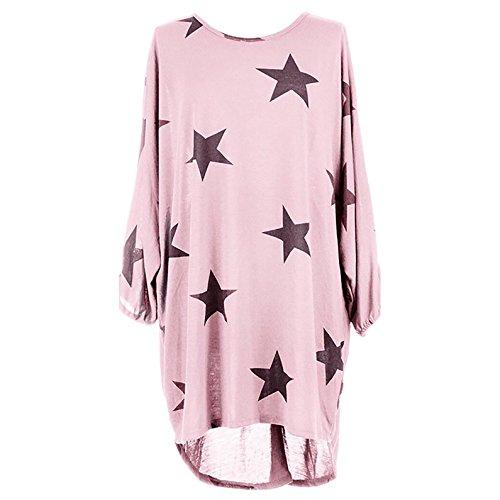 Damen Langarm Rundkragen Lässig Fünfzackigen Stern Druck Vokuhila Elegant  Beachwear Midikleid Freizeitkleid Strandkleider Druckkleider Pink