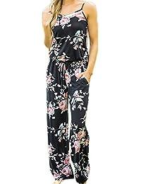Mupoduvos Mujeres Verano Casual Loose Pantalones Palazzo Correas Floral Print Jumpsuit