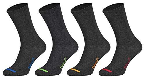 Herren Baumwollsocken Komfortbund ohne Gummi Businesssocken Atmungsaktiv Unisex Farbe Anthrazit farbige Spitze Grösse 39-42 ()