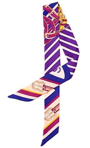 Smile YKK Foulard Imitation Soie Ruban Poignée Sac Imprimé Rayures Violet