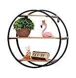 SHENGY Runder Dreischichtiger Wand-Bücherregal Aus Schmiedeeisen-Massivholz, Stabiles Wanddekorationsregal Arbeitszimmer-Schlafzimmerablage