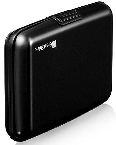 GreatShield Coque de protection rigide en aluminium avec blocage RFID et 8emplacements pour cartes, unisexe Black (8 Slots)