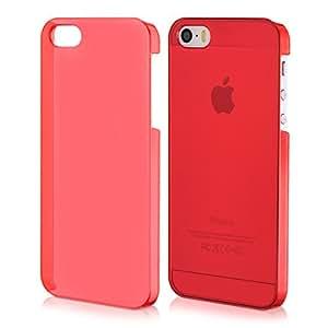 kwmobile Crystal Hülle für Apple iPhone SE / 5 / 5S Hard Case - dünne durchsichtige transparente Schutzhülle Cover klar in Rot Transparent