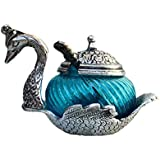 Oxidize Metal Home Decor Duck Shape Blue Colored Glass Bowl Tray Set,China Duck Bowl Set,Mounth Freshener ,Mukhwas Tray,Sugar,Sweets,Namkeen Container Bowl Tray Set,Traditional Set With Spoon Showpiece Return ,Wedding,Festival,Rakhi Gifts Set (Blue)