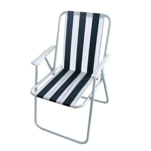 Silla exterior plegable de ocio Milestone Silla plegable de playa - Blanca, 52 x 47 x 75 cm