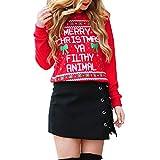 Fröhliche Weihnachten! SHOBDW Damen Tops Winter Mode Lässig Simplicity Brief Bowknot Drucken Outwear T Shirt Frauen Elegant Dünn Sweatshirt Pullover Bluse Shirts Tops