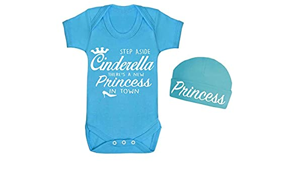 bcf00b6a5 Step Aside Cinderella There's a New Princess in Town Baby Vest and Hat Set  Babygrow Bodysuit Baby Shower Gifts Novelty Inspired Princess Clothing (3-6  ...