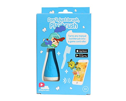 Playbrush - Kids toothbrush attachment that transforms manual toothbrushes into mobile game controllers via Bluetooth, encouraging kids to brush in a fun way, Blue, 1 unit
