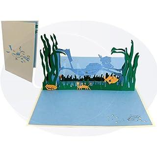 LIN-POP UP Grußkarten, Geburtstagskarten, Gutscheinkarten, Taucher
