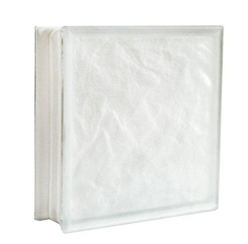 2 pezzi Fuchs Vetromattone Iceberg Bianco Satinato due lati (vetro opalino) 30x30x10 cm