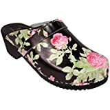 Lotta From Stockholm Swedish Clogs : Classic Clog in Black Rose Pattern