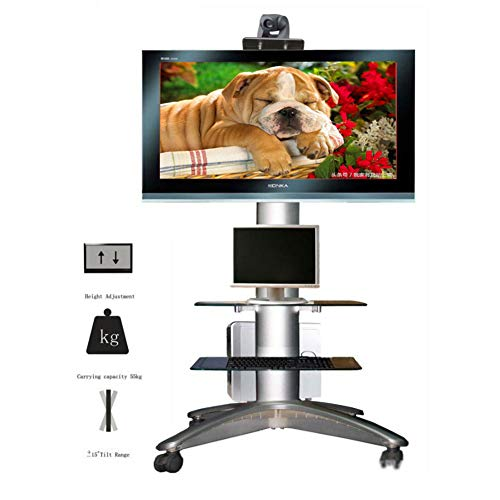 37 Flat Panel Tv Stand (Xue Tragbarer TV-Stand Floor Standing, TV-Cart Für 37-55 Zoll LED LCD Plasma Flat Panels Höhe Adjust 360 ° of Swivel Mit Wheels Mobile Bedroom Classroom Meeting Room Video Call)