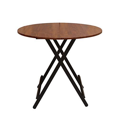 YXX Bois Rond Pliant Cuisine Table à Manger Bureau d'ordinateur avec Pieds en Acier, Home Living Tables Basses Chambre 4 Pieds (Couleur : #1, Taille : 80x80x55cm)