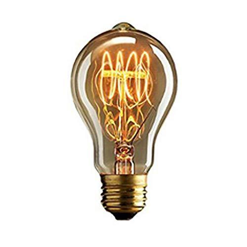 Hplights Edison Vintage Glühbirne E27 Birne 40W A19 Dekorative Retro Glühlampe, Warmweiß Squirrel Cage Filament Kohlefadenlampe oder Deckenleuchte Ideal für Nostalgie und Retro Beleuchtung - A19 Birne