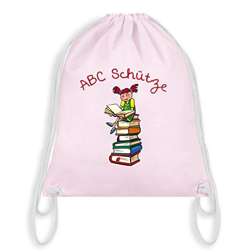 Einschulung - ABC Schütze Mädchen rothaarig Bücher - Unisize - Pastell Rosa - WM110 - Turnbeutel & Gym Bag