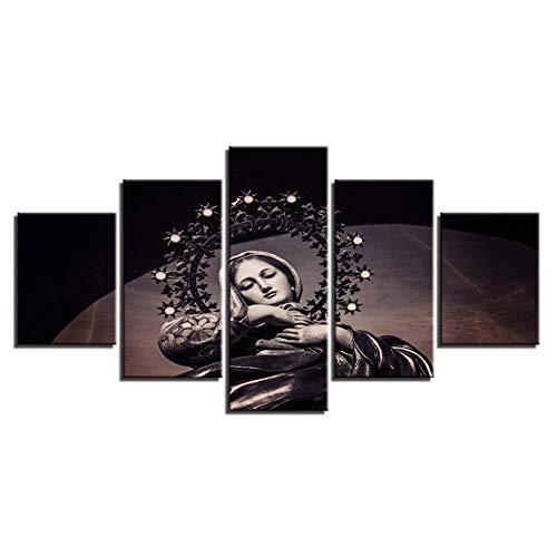"""WLYUE Imagen 200x100 cm / 78.8""""x 39.4"""" Impresión de Lienzo Pintura de Arte de Pared para decoración del hogar, embellezca su casa de Amor, -5 Piezas,Virgen maría"""