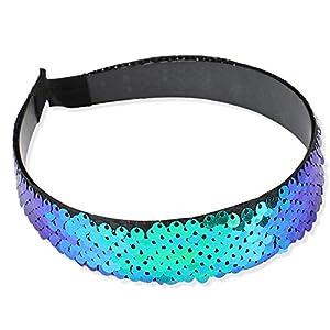 NiceButy Pailletten mit Stirnband elastisch Pailletten Pailletten elastisch Haarreif für Mädchen Frauen Haarzubehör (Pfauenblau) Kleidung