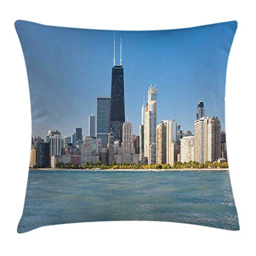 MLNHY Illinois Throw Pillow Cushion Cover, View of Chicago Skyline from Michigan Lake Famous American Town Midwest Panorama, Decorative Square Accent Pillow Case, Slate Blue,26 X 26 Inches Illinois Home Jersey