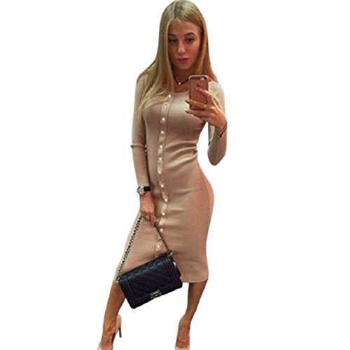 Vovotrade 2016 Winter-Strickwolle Frauen Knopf Langarm Knit BodyCon Pullover Kleid Khaki