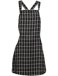 Damen Maedchen Kleid Latzkleid Traegerkleid Kurzes Minikleid Latzrock Latz Rock Kleid Minirock Hippierock Traegern M L