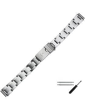 Uhrenarmband Metall 12mm silber matt - inkl. Federstege & Werkzeug - robustes Gliederband für Uhren - gefaltete...