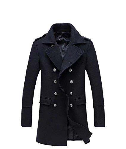 Herren Zweireiher Lange Mantel Seemannsjacke Pea Coat Wolle Mischung Tweed  Jacke Cabanjacke Schwarz 0275b3f02c