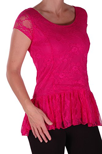 EyeCatch Plus – Haut manches courtes oversize peplum en dentelle - Poppy – Femme – Plusieurs Tailles et Couleurs Fuchsia