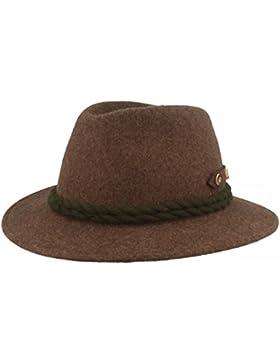 Hut Breiter Herren Trachten-Hut | Filz-Hut | Herren-Hut – Handgemacht aus 100% Wolle mit grüner 2-fach Kordel-Garnitur...