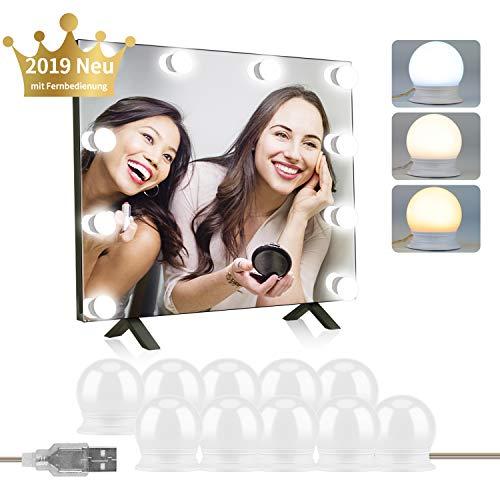 ZOYJITU Schminklicht für Spiegel 10 LED Dimmbares Schminklichter Spiegellampe Hollywood Stil Verstellbare Länge Make up Licht Schminktisch Leuchte 3 Lichtmodi