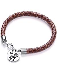 Code Red braun Leder Tochter loves Dad Charm Armband Länge 20cm