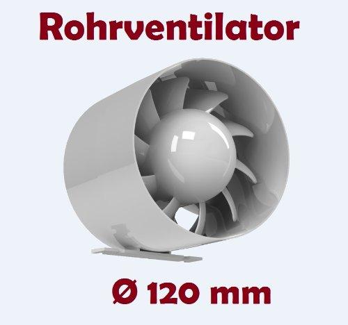 Canale tubo ventilatore Einschub Ventola di scarico Tubo Ventilatore Silenzioso Ø 120mm 12cm con cuscinetto a sfera tubo portatili 16W–158m³