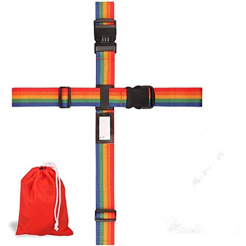 LANTECK Koffergurt & Gepäckanhänger, Cross-Gepäckgurt Verstellbare Kofferband Rutschfest Reise Luggage Straps - Sicher und einfach zu bedienen (Colorful)