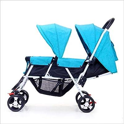 QZX Cochecito Doble Ligero para dúo de bebés y niños pequeños Conecte cochecitos Sistema de Seguridad de toldo extendido de 3 Niveles, Cesta de Almacenamiento