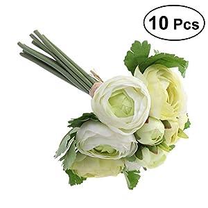 BESTOYARD 10 unids Flores Artificiales Camelia Novia Ramo de Novia de Dama de Honor Toss Bouquet Home Decoration (Verde y Blanco)