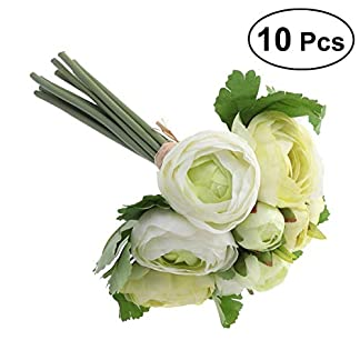 BESTOYARD 10 unids Flores Artificiales Camelia Novia Ramo de Novia de Dama de Honor Toss Bouquet Home Decoration (Verde y Blanco)
