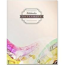 DÉKOKIND Notenheft | DIN A4, 64 Seiten, 12 Notensysteme pro Seite, Inhaltsverzeichnis, Vintage Softcover | Dickes Notenbuch | Motiv: Futuristic
