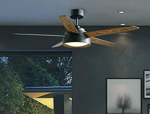 Deckenventilator Log Home Furnishing Fan Light 52in / 132CM Modernes Propeller-Design Deckenventilator mit 5 x Flügel und einer praktischen Fernbedienung-black -