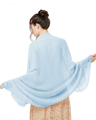 bridesmay Damen Strand Scarves Sonnenschutz Schal Sommer Tuch Stola für Kleider in 29 Farben Water Blue