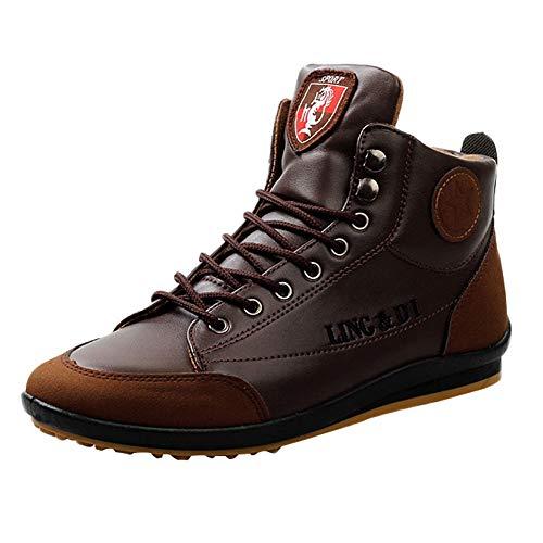 FNKDOR Klassische Stiefel Herren Kurzschaft Sport Freizeitschuhe High-top Vintage Schuhe gr 40 EU Kaffee