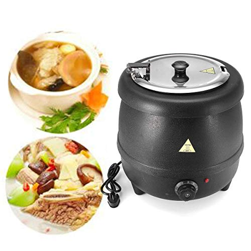 400W 10L Stainless Steel Soup Kettle Electric Bolier Black 98C...