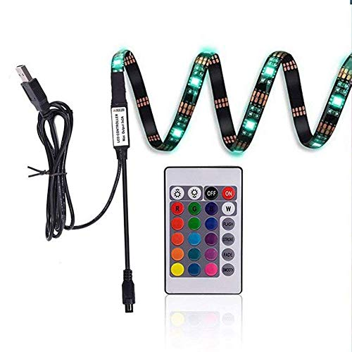 efanr LED Licht Streifen Neon RGB TV HINTERGRUNDBELEUCHTUNG USB Multi Farbe geändert Beleuchtung 89,9cm Länge Light Tape mit 24Schlüssel Fernbedienung Controller für HDTV LCD-Flachbildschirm-TV (Audio Smd Car)