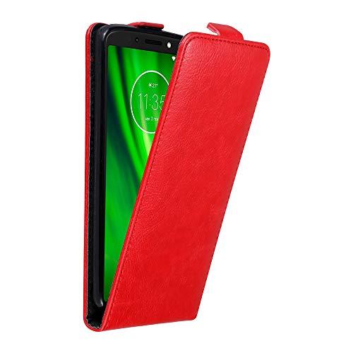 Cadorabo Hülle für Motorola Moto G6 Play in Apfel ROT - Handyhülle im Flip Design mit Magnetverschluss - Case Cover Schutzhülle Etui Tasche Book Klapp Style