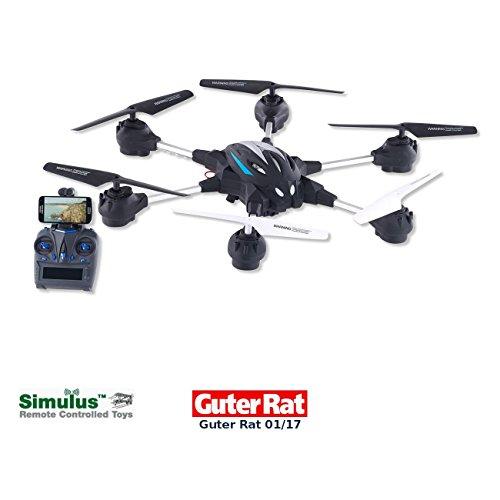 Simulus Drones: Hexacopter GH-50.cam mit VGA-Kamera & Live-View per WLAN, 2,4 GHz, App (Hexacopter mit Live Videoübertragung und WLAN)