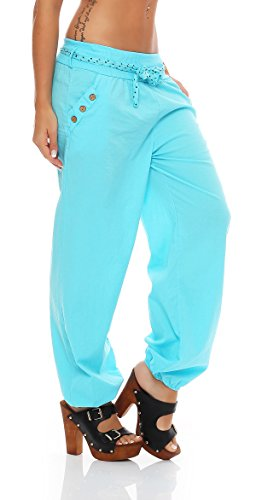 ZARMEXX Ladies harem pants Pantaloni estivi Aladin beach pants Pantaloni larghi di cotone (Taglia unica, 40-44) Blu chiaro