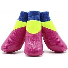 WYXIN Calcetines impermeables para mascotas Calcetines para perros al aire libre Calcetines antideslizantes A prueba de desgaste Suave Bottom Stretch Shoes3pcs , rose red , 6#