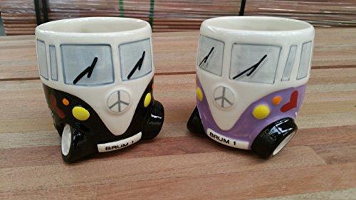 Set von zwei Hand Camper Van Tasse–schwarz und violett–Hippie-Bus Tassen