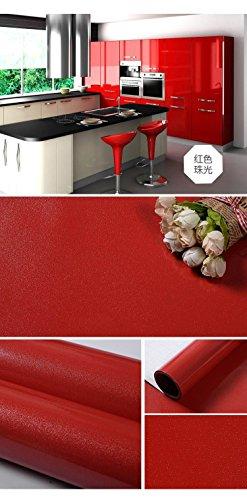 Möbel Renoviert Wasserdichte Wandpaste, Küchenschrank Bemalt Film Schrank Tür Schrank Selbstklebende Tapete Rote Perle ()