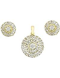 The Jewelbox Nakshatra Flower Gold Plated Pendant Earring Set For Women