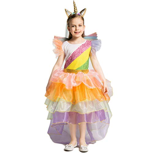 Hexe Kind Kostüm Bunte - Regenbogenfarbenes Einhorn KinderkostüM MäDchen Prinzessin Kleid KostüM Kinder Rainbow Rock TüTü FüR Party Cosplay Geburtstag Mit Blume Stirnband+Flügel Little Pony Dress Up Fun