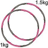CampTeck U6749 8 Sections Weighted Hula Hoop Foam Padded Fitness Exercise Hula Hoop, 100cm Diameter – Pink/Grey